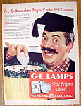Click to view larger image of Vintage Ad:1947 General Electric Lamps w/ Jerry Colonna (Image1)