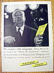 Click to view larger image of Vintage Ad: 1959 Western Union w/ Alfred Hitchcock (Image1)