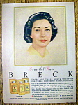 Click to view larger image of 1960 Breck Shampoo with a Lovely Black Haired Woman (Image1)