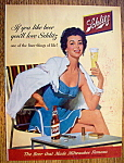 1954 Schlitz Beer with Woman Holding Glass Of Beer