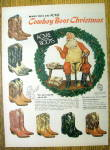 Click to view larger image of Vintage Ad: 1956 Acme Cowboy Boots with Santa Claus (Image1)