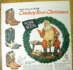 Click to view larger image of Vintage Ad: 1956 Acme Cowboy Boots with Santa Claus (Image2)