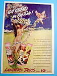 1940 Lander's Talcum Powder w/Woman & Flowers