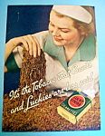 1936 Lucky Strike Cigarettes w/Woman Picking Up Tobacco