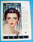 Vintage Ad: 1936 Savage Lipstick