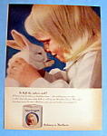 1964 Northern Tissue with Little Girl Cuddling Bunny