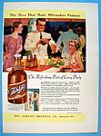 1937 Schlitz Beer with Man Pouring Bottle Of Beer