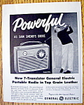 Click to view larger image of Vintage Ad: 1959 G.E. Portable Radio w/ Sam Snead (Image1)
