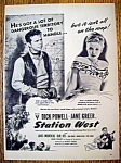 Vintage Ad:1948 Station West w/Dick Powell & Jane Greer