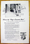 1928 Ad: Bryant Gas Heating w/ Two Children & Furnace