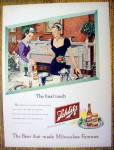 1947 Schlitz Beer with 2 Women Setting Table For Dinner