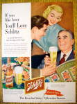 1953 Schlitz Beer with Man Handing A Man Glass Of Beer