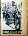 Click to view larger image of 1949 Harley Davidson 125 Motorcycle with Man Riding (Image2)