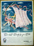 1945 Textron Shower Curtains with Woman on a Swan