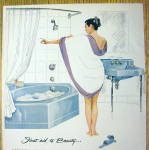 Click to view larger image of 1957 Kohler of Kohler Bathroom with Woman Taking Bath (Image2)