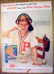 Click to view larger image of 1959 Post Alpha Bits w/ Baseball Catcher Eating Cereal (Image1)