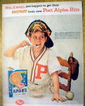 Click to view larger image of 1959 Post Alpha Bits w/ Baseball Catcher Eating Cereal (Image2)