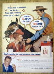 Click to view larger image of 1959 L & M Cigarettes with James Arness & Amanda Blake (Image1)