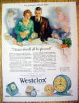 Click to view larger image of 1929 Westclox Clock with Woman Opening a Gift Box (Image1)
