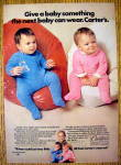 1972 Carter Zipper Coveralls with 2 Babies on Bean Bags