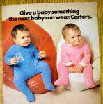 Click to view larger image of 1972 Carter Zipper Coveralls with 2 Babies on Bean Bags (Image2)