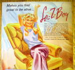 Click to view larger image of 1974 Lazy Boy Chair with Woman Sitting & Stretching (Image2)