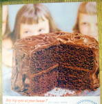 Click to view larger image of 1954 Pillsbury Cake Mix with 2 Children Looking At Cake (Image2)