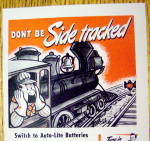 Click to view larger image of 1944 Auto Lite Batteries w/Man In Train By Hoff (Image2)