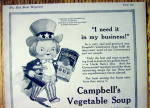Click to view larger image of 1918 Campbell's Vegetable Soup with Kid Uncle Sam (Image2)
