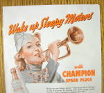Click to view larger image of 1942 Champion Spark Plugs with Woman Blowing Horn (Image2)