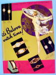 1936 Bulova Watch with Lovely Woman
