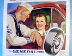 Click to view larger image of 1941 General Tire with Sailor Talking to Woman (Image2)