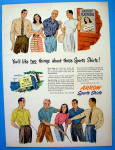 Click to view larger image of 1947 Arrow Sport Shirt with Woman Talking To Men (Image1)