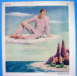 Click to view larger image of 1947 Textron with Man On Cloud Looking Down At Mermaids (Image2)