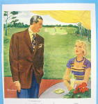 Click to view larger image of 1949 Worumbo Fabric with Man and Woman Talking (Image2)