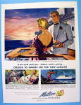 1949 Matson To Hawaii Cruise Lines with Couple On Ship