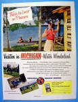 1949 Michigan with Woman Waving To Man & Boy In Boat