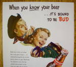 Click to view larger image of 1953 Budweiser Beer with Man & Woman w/Instruments (Image2)