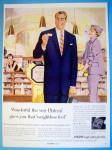 1955 Pacific Fabrics with Woman Looking At Man In Suit