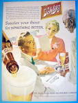 1956 Schlitz Beer with Black Waiter Serving Couple