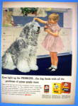1958 Friskies Dog Food With Girl Feeding Dog