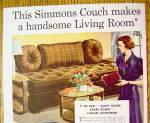 Click to view larger image of 1937 Simmons Couch with Woman Looking At Couch (Image2)
