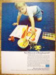 1965 Polycrest Carpeting with Boy Spilling Paint On Rug