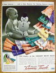 Click to view larger image of 1941 Cannon Towels with Baby Holding Snowman Doll (Image2)