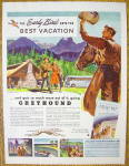 Click to view larger image of 1947 Greyhound with Cowboy Waving Hat To Couple (Image2)
