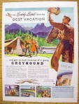 Click to view larger image of 1947 Greyhound with Cowboy Waving Hat To Couple (Image3)