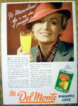 Click to view larger image of 1936 Del Monte Pineapple Juice w/Woman Holding Glass (Image1)
