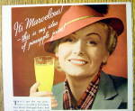 Click to view larger image of 1936 Del Monte Pineapple Juice w/Woman Holding Glass (Image2)
