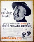 Click to view larger image of Vintage Ad: 1952 Auto Lite Spark Plugs w/Jimmy Durante (Image1)