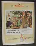 1952 Budweiser Beer with Man Holding a Glass of Beer